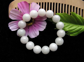 Free Shipping -  natural white Jadeite Jade Prayer Beads  charm bracelet - $25.99