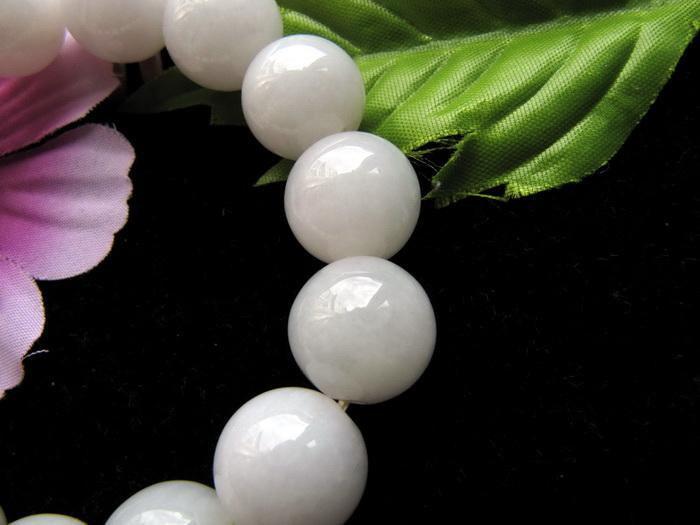 Free Shipping -  natural white Jadeite Jade Prayer Beads  charm bracelet