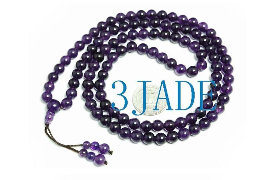 Free Shipping - NATURAL Amethyst Tibetan 108 Meditation Yoga Prayer Beads Mala