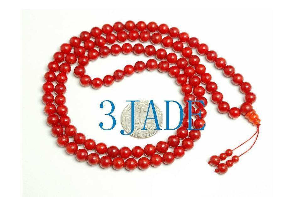 Free Shipping - NATURAL Red Coral  Meditation  Yoga 108 Prayer Beads Mala Neckla