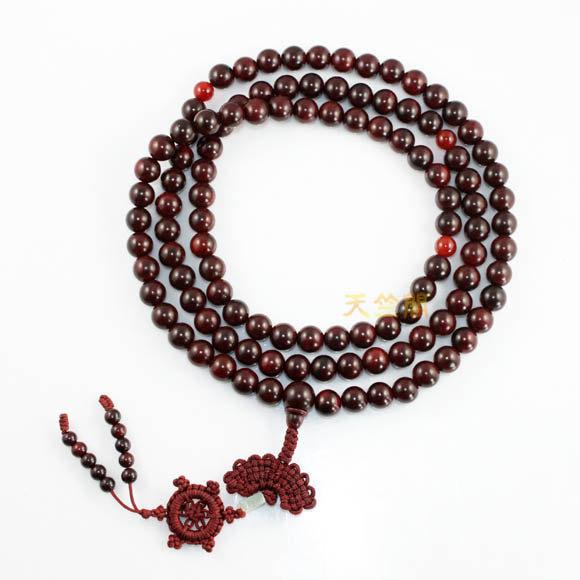 Free Shipping - 100% Natural Red sandalwood  meditation yoga 108 Prayer Beads Ma