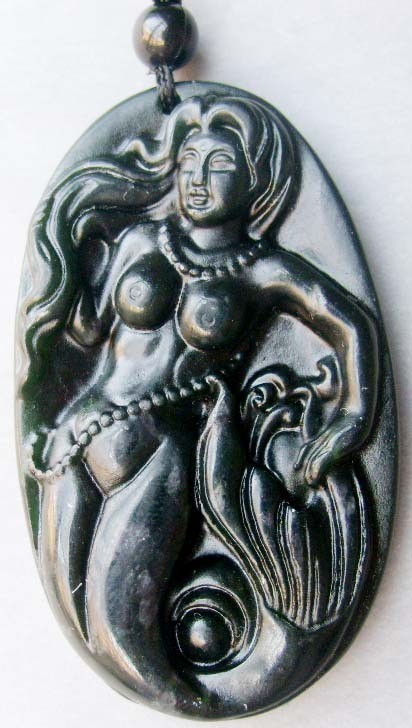 Free Shipping - good luck Hand carved Natural dark Green Jadeite Jade Mermaid ch