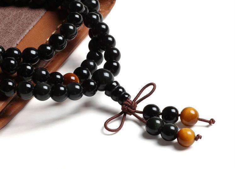 Free Shipping - Tibetan Buddhism  natural black agate Mala with yellow tiger eye