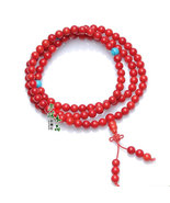 Free Shipping - Natural Red Coral Mala with Turquoise beads Meditation  ... - $30.00