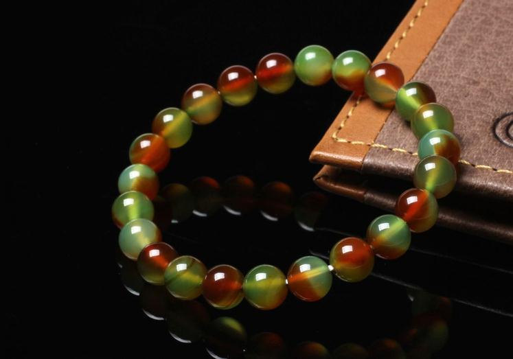 Free Shipping -  perfect Tibetan natural Red green agate / Colorful agate  Medit