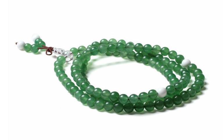 Free shipping - Tibetan natural Green Aventurine jade Meditation 108  prayer bea