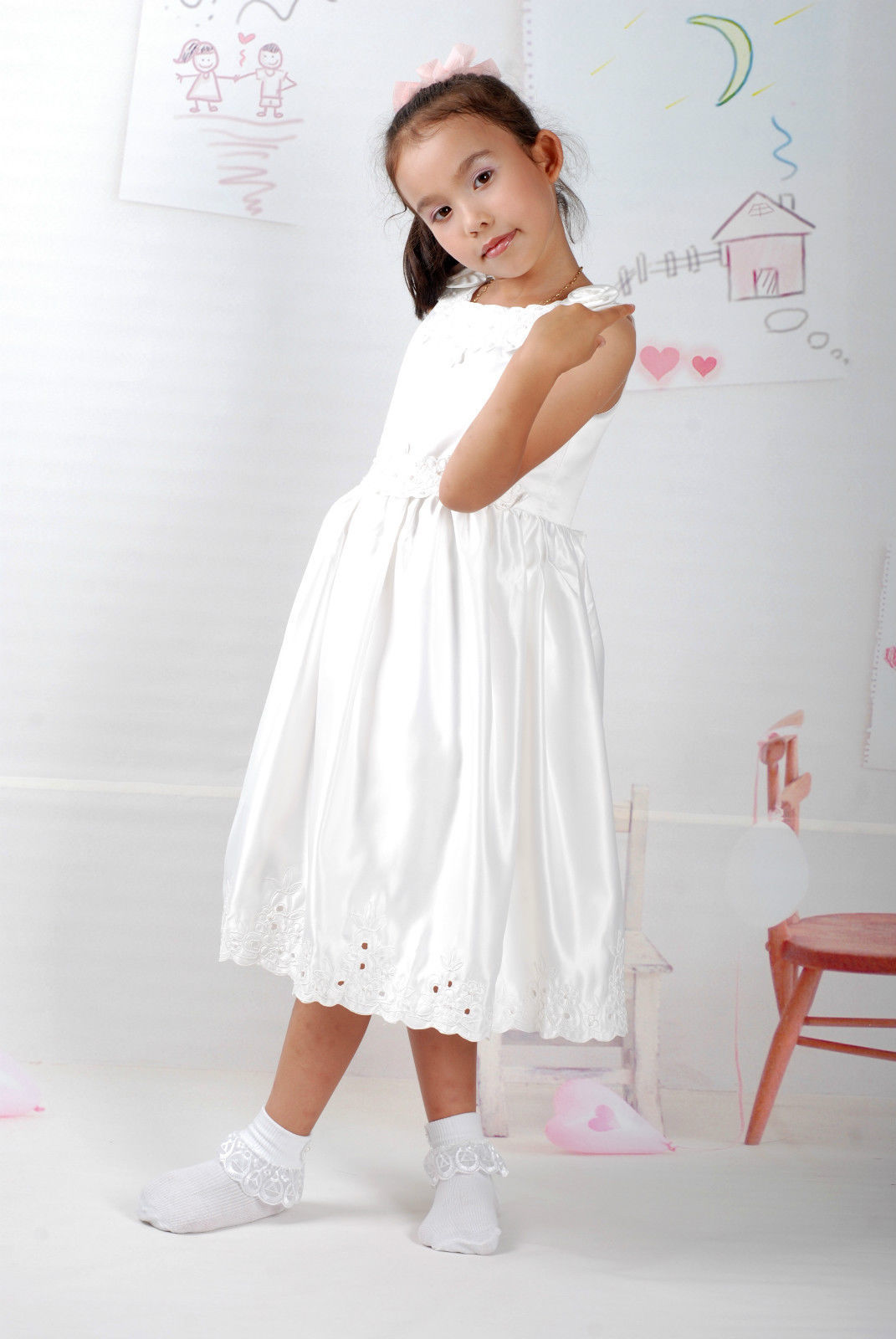 New Satin Flower Girl Party Bridesmaid Wedding Pageant Dress 18 Month to 5 Years image 3