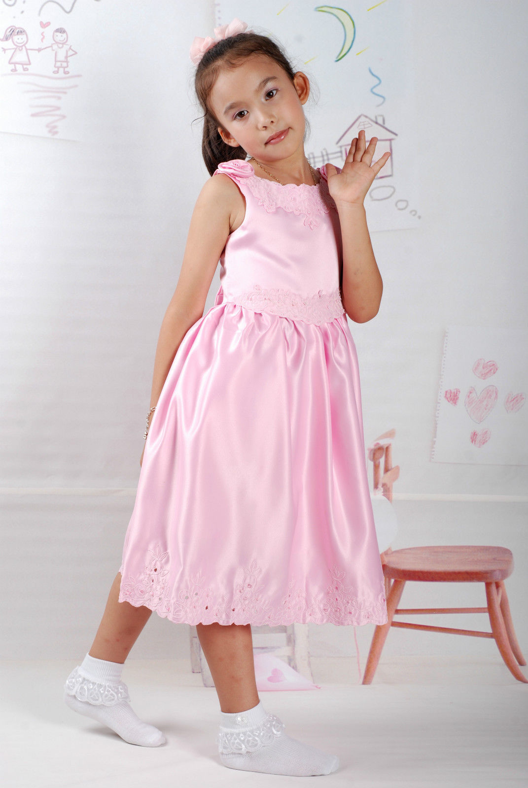 New Satin Flower Girl Party Bridesmaid Wedding Pageant Dress 18 Month to 5 Years image 2