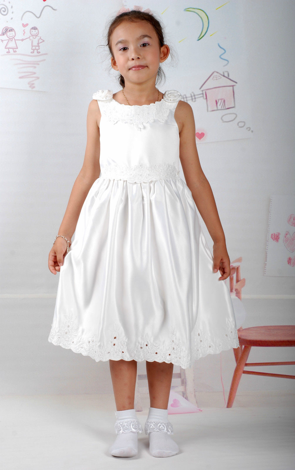 New Satin Flower Girl Party Bridesmaid Wedding Pageant Dress 18 Month to 5 Years image 4