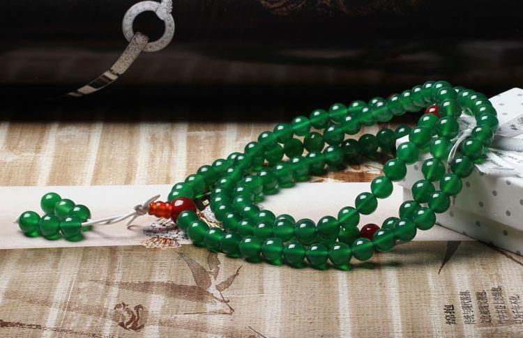 Free shipping - Tibetan  natural Green Aventurine jade Mala  Carnelian Yoga Medi