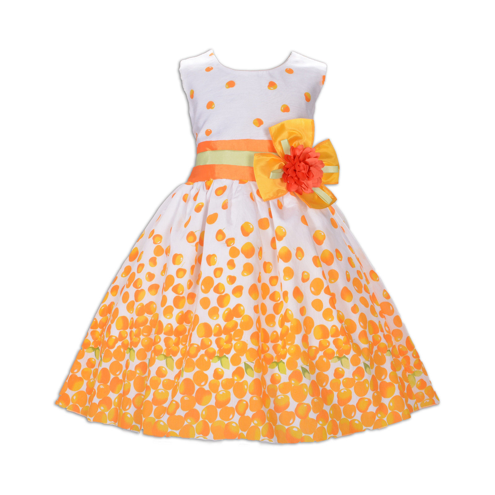 New Girls Cherry Party Dress in Orange Hot Pink Blue Yellow 5 6 7 8 9 10 Years