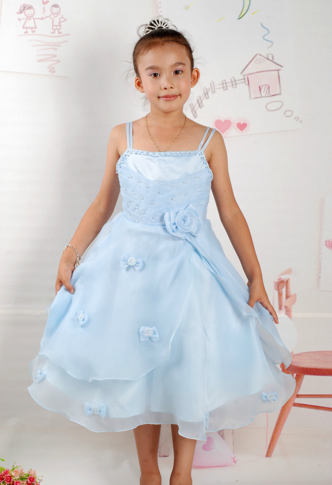 New Flower Girl Party Bridesmaid Pageant Dress in Pink,Blue,White 4-8 Years