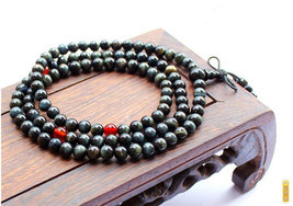 Free Shipping - 8mm Tibetan Buddhism Handcrafted Natural blue tiger eye Mala wit - $35.99