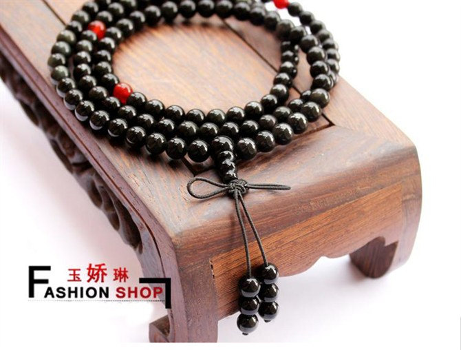 Free Shipping - 8mm Tibetan Buddhism Handcrafted Natural blue tiger eye Mala wit