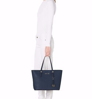 NWT MICHAEL KORS Jet Set Saffiano Leather Travel TopZip Tote Navy MSRP $278