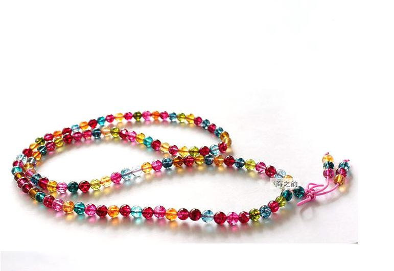 Free Shipping -Tibetan Buddhism Handcrafted Natural Colorful crystal Mala / Natu