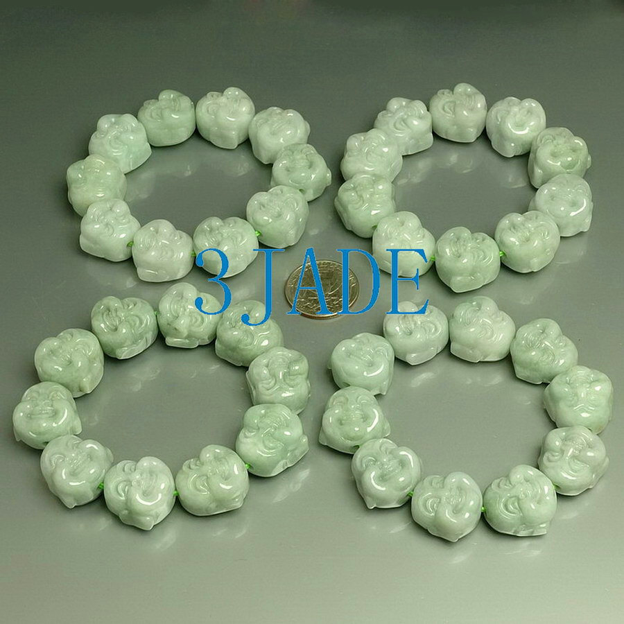 Free Shipping -  Hand Carved  natural light green Jade Laughing Buddha Beads  Br