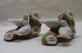 Vintage Avon 1985 Aniversary Porcelain Dove Floral Miniature Candle Holders - $12.00