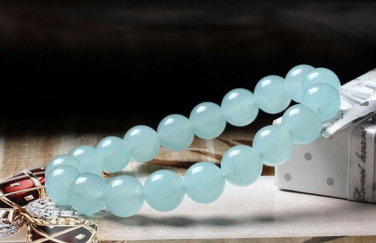 Free Shipping - lovely Natural sky blue jade Prayer Beads charm bracelet