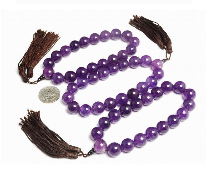 Free Shipping - natural Amethyst / Purple Quartz   Meditation Yoga Prayer Beads