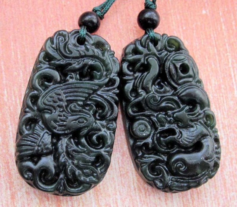 Free Shipping -  A pair Natural black  jadeite carved dragon Phoenix  Pendant  c