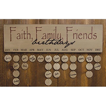 Country FAITH FAMILY FRIEND BIRTHDAY CALENDAR Wooden Sign Primitive Rust... - $35.99