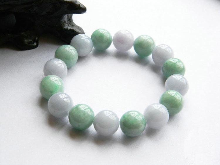 Jade natural green / white jadeite Jade stone bracelet