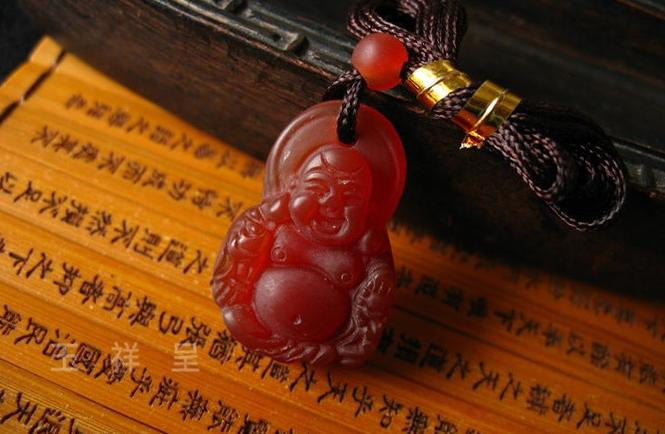 Free Shipping - good luck  Natural Red agate  Laughing Buddha  charm / Pendant