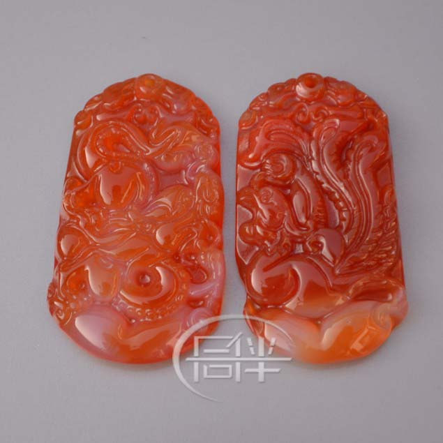 Free Shipping - good luck Amulet natural Red agate / Carnelian Carved Dragon Pho