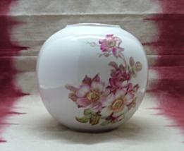 Vintage Gereld Porzellan Wild Rose Round Porcelain W.Germany Vase // Cen... - $14.00