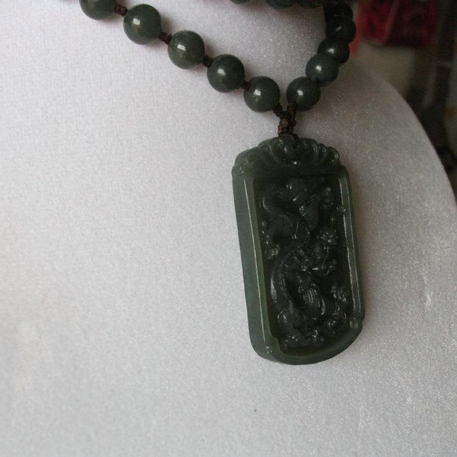 Free Shipping - 2012 Year Good luck Amulet  Natural dark green Jadeite Jade carv