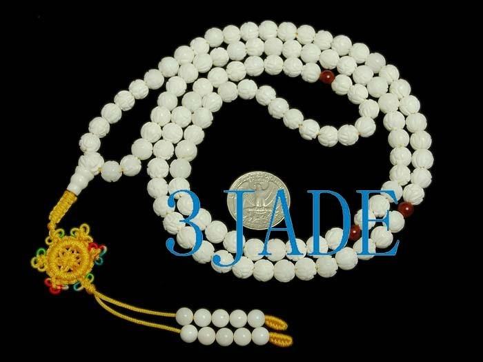 """Free Shipping - 37"""" Natural Tridacna Shell Lotus  MEDITATION yoga 108 Beads Pray"""