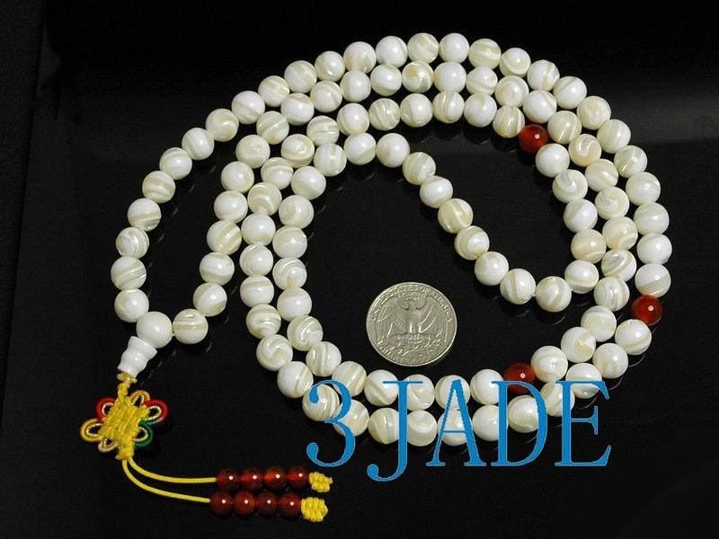 "Free Shipping - 37"" Natural Striped Tridacna Shell 108 Prayer Beads Mala necklac"