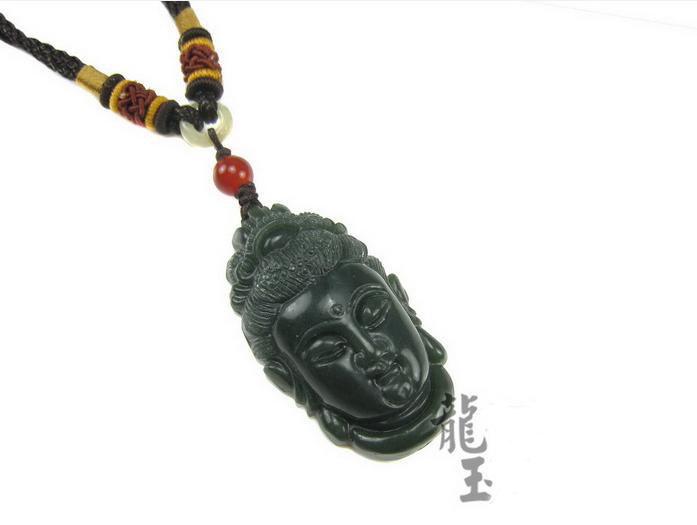 Free Shipping - perfect  Amulet  natural dark Green carved Bodhisattvas Jadeite