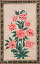 Mughal Lily Floral Painting Moghul Indian Handmade Miniature Flower Natu... - $49.99