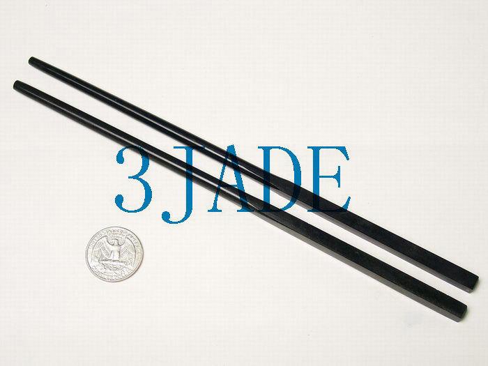 Free shipping - Vintage  4 Pairs  Natural Black green Jade carved  jade Chopstic