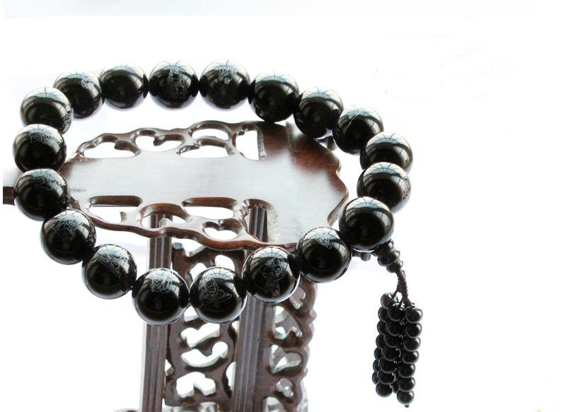 Free Shipping - good luck 100%  natural black agate / agate Prayer Beads meditat