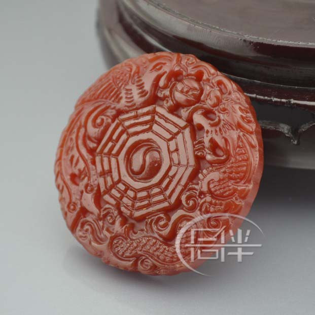 Free Shipping -  good luck Amulet NATURAL red agate / Carnelian Carved Dragon Ph