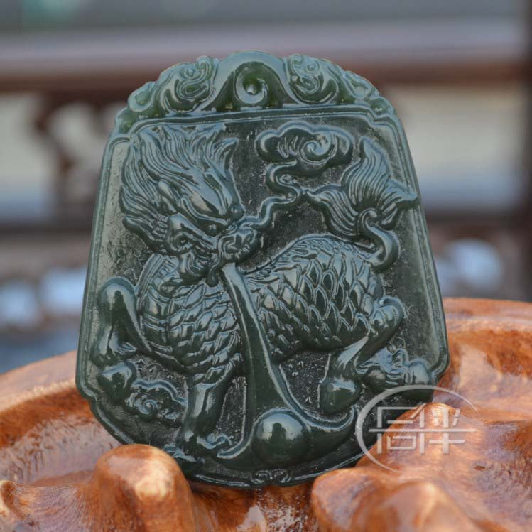 Free Shipping - Amulet auspicious Natural dark Green Jade Carved Dragon charm Pe