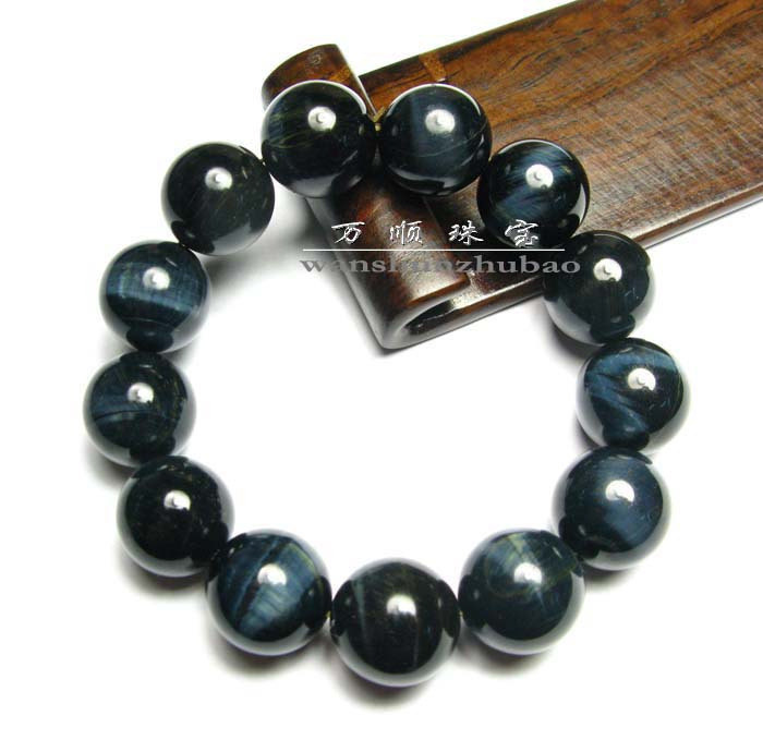 Free Shipping -  Hand carved beads  natural BLUE  tiger eye STONE Prayer Beads b