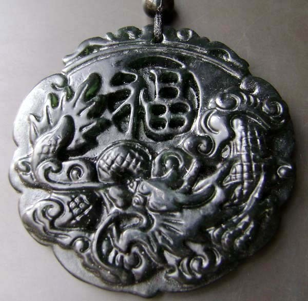 Free Shipping - good luck Amulet  Natural dark Green jade carved  dragon  Pendan
