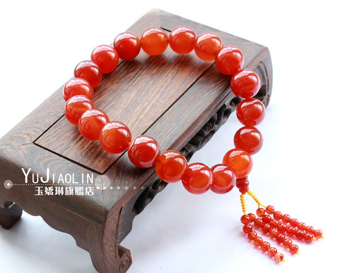 Free Shipping - good luck 100%  natural RED agate / Carnelian Prayer Beads charm