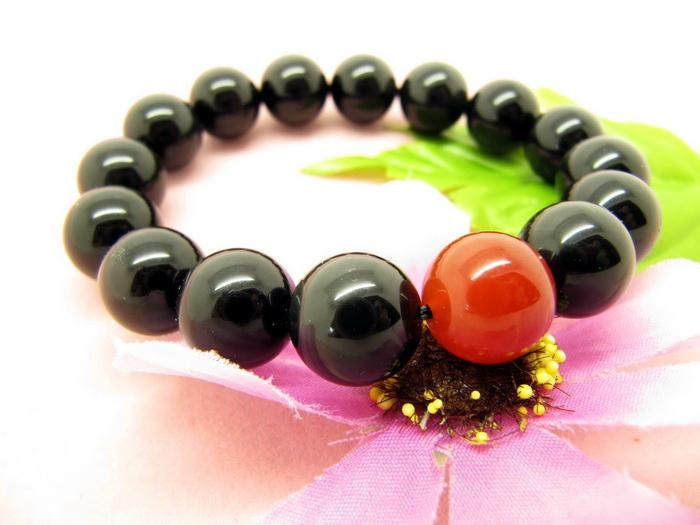 Primary image for Free Shipping -  perfect 100% natural black / Red agate Prayer Beads charm brace