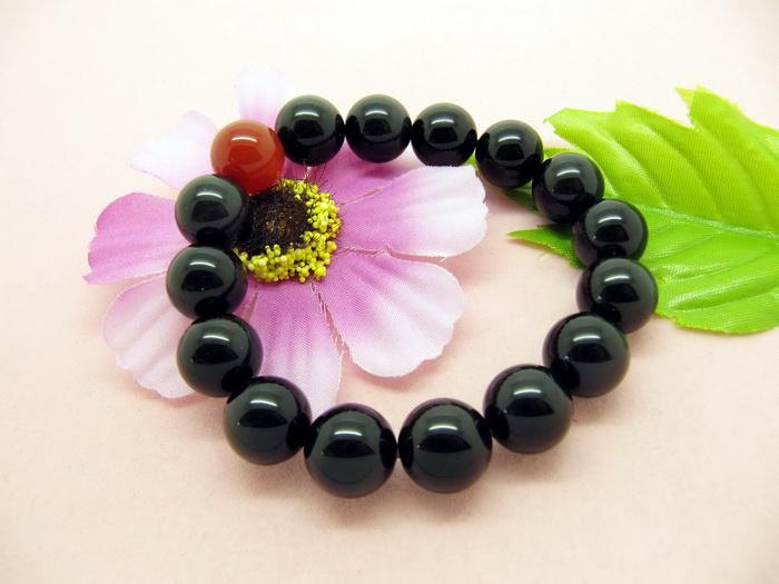 Free Shipping -  perfect 100% natural black / Red agate Prayer Beads charm brace