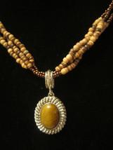 EUC Earthy & Elemental Avon Tiger's Eye Beaded Necklace & Earrings Set  =K2 - $15.00