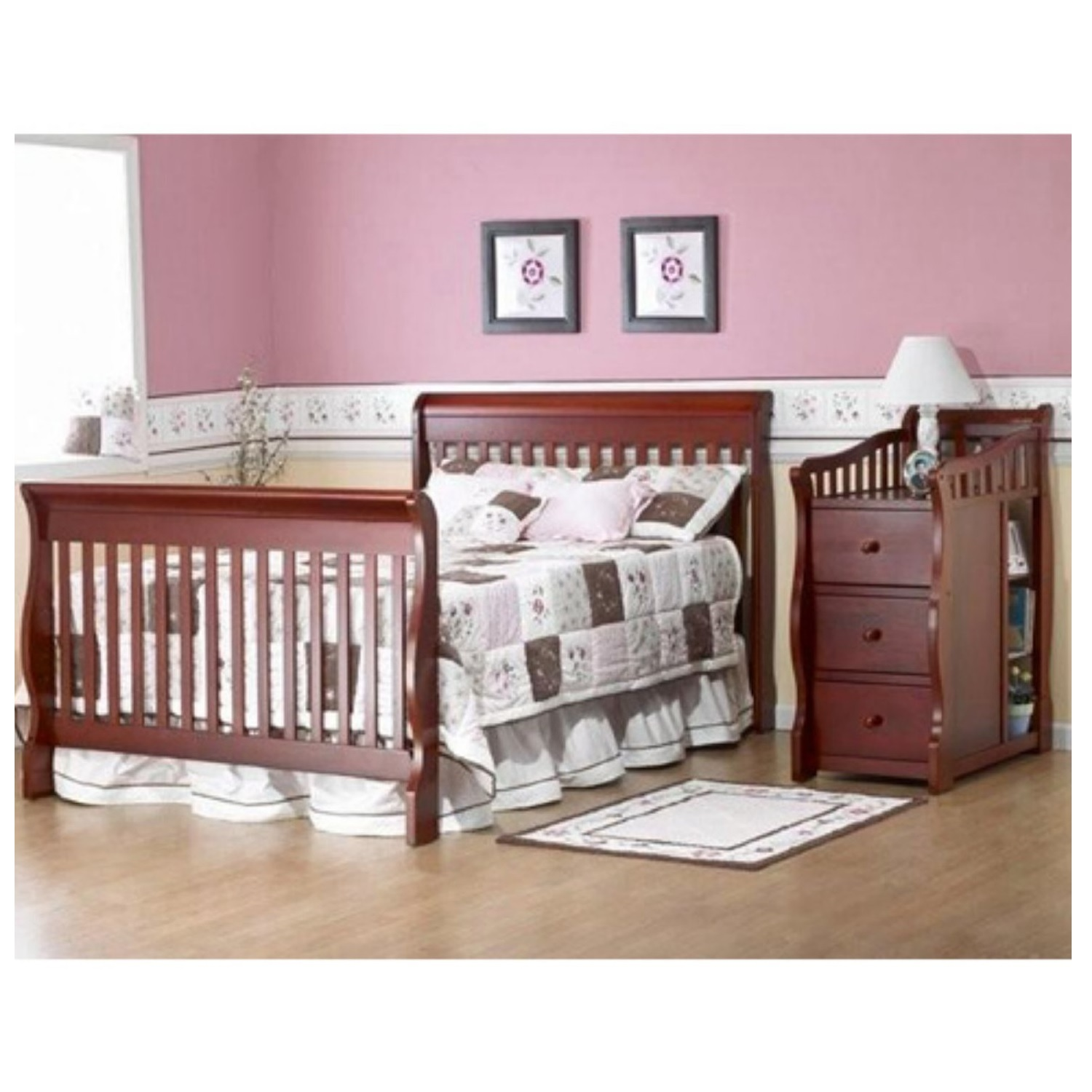 Convertible Baby Crib Changing Table Combo Nursery