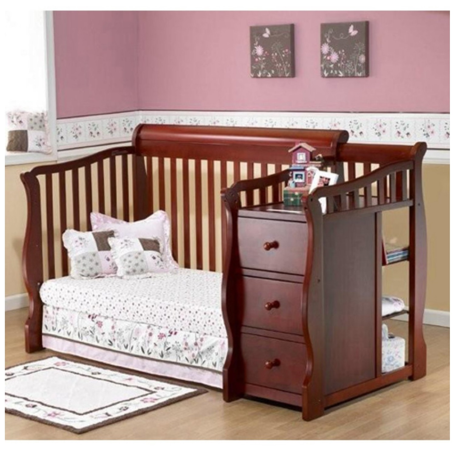 Convertible baby crib changing table combo nursery for Nursery furniture