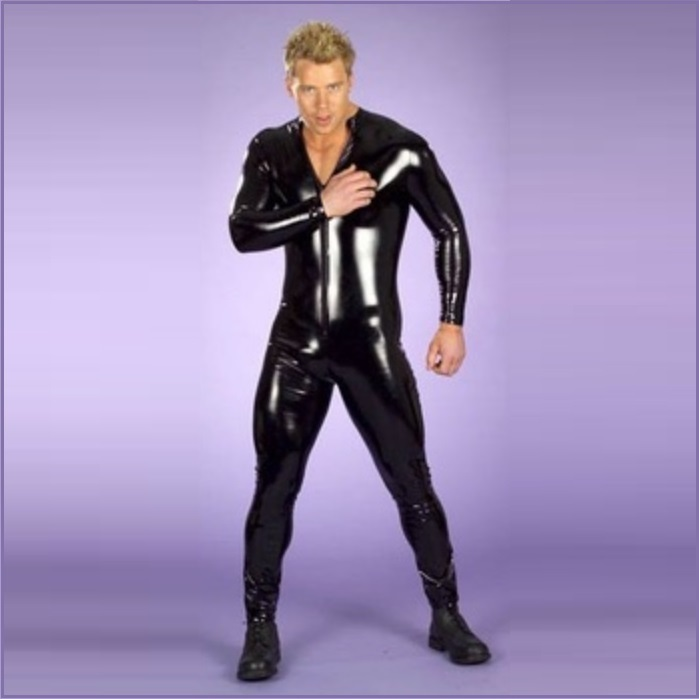 Men's Long Sleeved Black Wet Look Faux PU Leather Front Zip Up Body Catsuit
