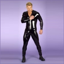 Men's Long Sleeved Black Wet Look Faux PU Leather Front Zip Up Body Catsuit image 1