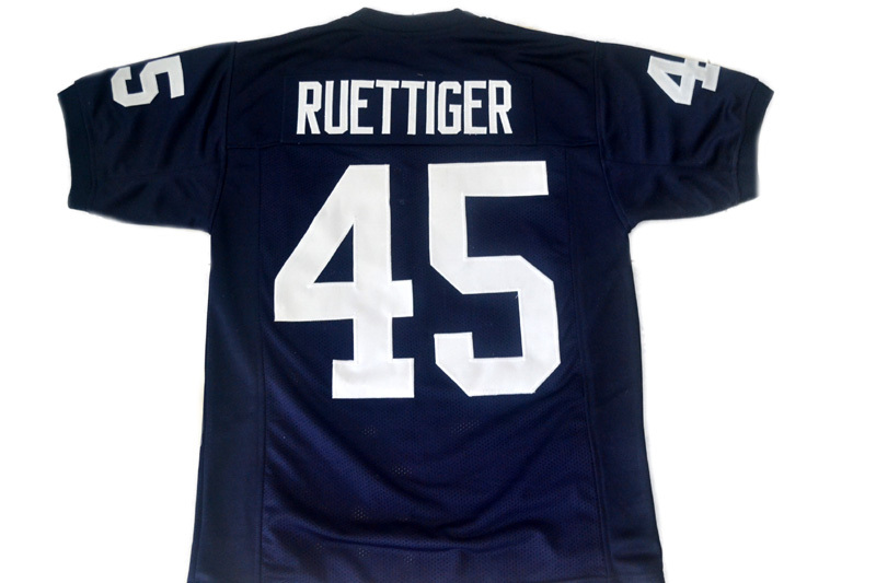 Ruettiger #45 Rudy Movie Never Quit Football Jersey Navy Blue Any Size